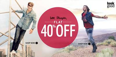 Wrangler and Lee All Item Flat 40% Off on Myntra