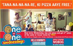 Dominos India Friday offer on Dominos.co.in  Buy 1 Pizza and Get 1 Pizza Free