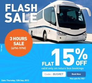 Goibibo.com : 15% discount Flash Sale on Bus Booking Coupon-12 September 2013 offer