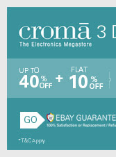 Croma 10% extra discount on ebay India site