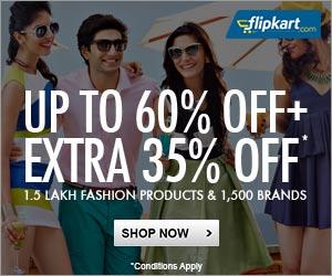Upto 60% Off + Additional 35% Off on 1.5 Lakh Styles across 1500 brands at Flipkart. com, Flipkart May 2014 Discount offer valid till 26 May 2014