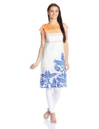 W for Woman Cotton Self-Print Straight Kurta