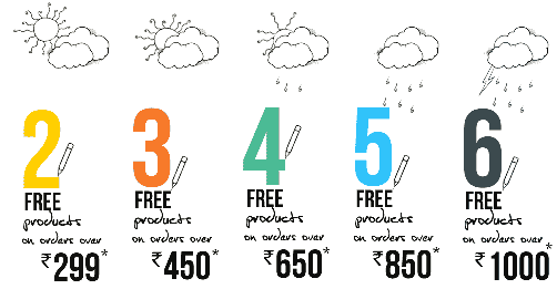 Select and get upto 6 free product on minimum Orders Above Rs. 1000 at himalayastore. com, Valid for limited time